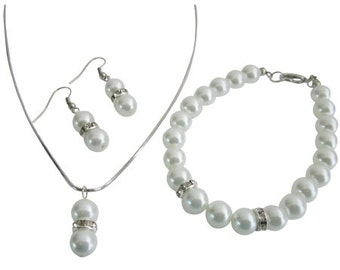 Looking For White Pearls Flower Girl Junior Bridesmaid Jewelry Set Free Shipping In US