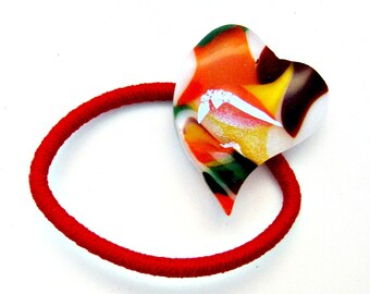 Colorful Heart Fused Glass PonyTail Holder