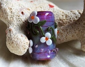On sale - 45 % off Elizabeth Creations CANDY DAISIES artisan handmade lampwork focal bead Sra
