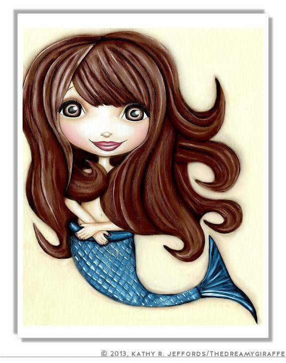 Mermaid Print. Mermaid Art For Ocean Themed by thedreamygiraffe