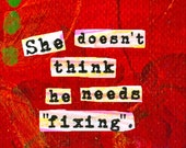 "Autism Awareness Quote. ""She Doesn't Think He Needs Fixing."" ART MAGNET for Moms. Nursery wall art. Autism Art. LadyBird."