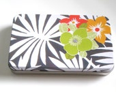 Floral Print Tin with lid for Fridge Magnets, Gift Cards, Craft Supplies, Tin with Lid, Eco Friendly Gift Giving