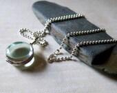 Round Glass Memorial Photo Locket - Sterling Silver Pet Memorial Jewelry Locket - Mourning Jewelry