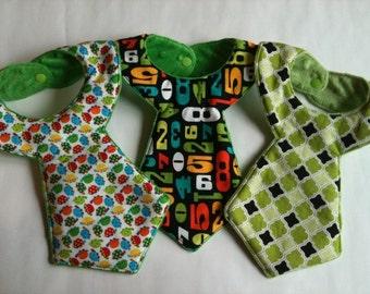 Set of 3 Baby Boy Necktie Style Cool Bibs ***Green***