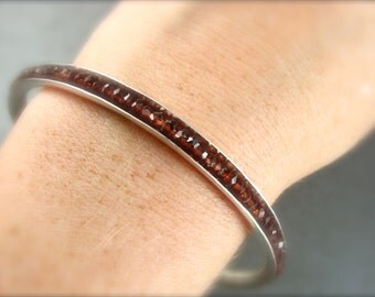 skinny garnet gemstone bangle ... January Birthstone