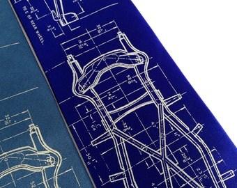 Studebaker necktie. Men's Avanti sports car tie. Silkscreened automotive engineering print, 1962. Cream print on blue & many more colors..
