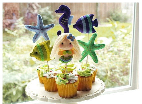 For Krystle Mermaids & Under the Sea Friends Custom Made Party Favors, Cake Topper, Beach Pool Aqua Party decor,  Baby Shower, Birthday