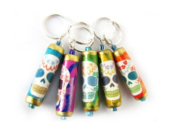 Knitting stitch markers, sugar skull, day of the dead beaded stitchmarkers, knitting accessories, knitters gifts, rainbow, uk seller