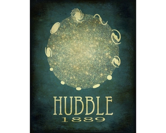 Edwin Hubble 16x20  - Rock Star Cosmic Pioneer Galaxies Fine Art Astronomer Steampunk Poster Print