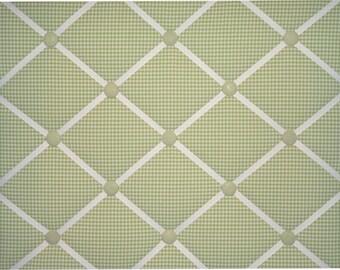 Green Gingham White French Ribbon Memo Board