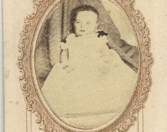 Mourning civil war cdv baby bows photo antique