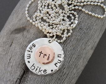 Triathlon Unisex Sterling Silver and Copper Necklace, marathon jewelry, tri jewelry, race bling