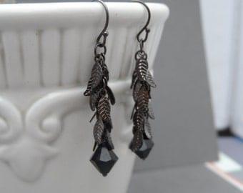 Gun Metal Silver Leaf Dangle Crystal Earrings, Dangle Earrings, Long Earrings, Leaf Earrings