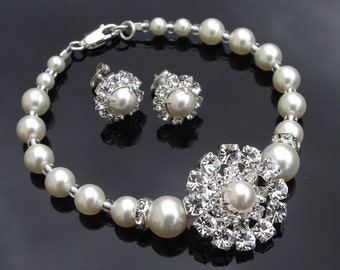 Vintage Style Rhinestone & Pearl Bridesmaids Bracelet and Earring Set, PRAGUE