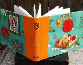 FRIDA KAHLO ARTIST Large Journal Blank Bound Book Leather Spine with Frida Charm Book bound with Gessoed Canvas