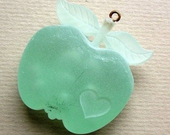 Vintage frosted lucite apple pendant