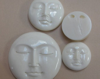 MS  Bone Face Drilled Bead Button  (1)  1.0 inch 25mm Carved Bali Fair Trade