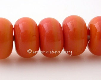 Lampwork Spacer Glass 5 SUNBURST CORAL Glossy & Matte Donut Rondelle Beads - 8 to 10 mm