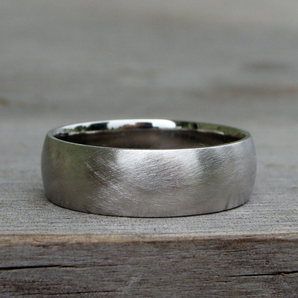 Recycled Wedding Band Ring 950 Palladium Matte Brushed