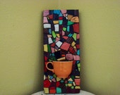Mosaic Tile Art Colorful Wall Panel  Broken Plate Chartreuse Orange Tangerine Lilac Rainbow Cocomo