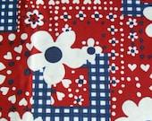 4th of July 4 yards Novelty Fabric POLKA DOTS n DAISIES Retro Rockabilly Red White Plaid Checks