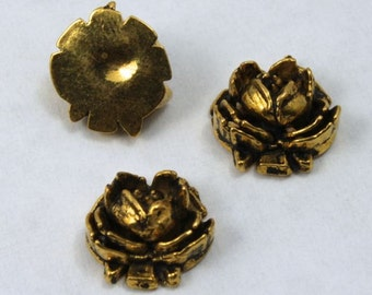 12mm Antique Gold Rose (2 Pieces) #1647