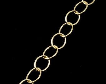 Bright Gold, 6mm x 5mm Fine Oval Cable Chain CC149
