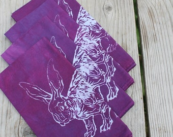 batik rabbit napkins. plum