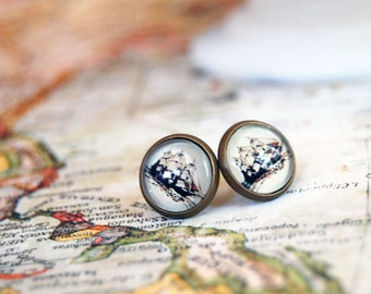 Aged brass framed post earrings- vintage tall ships- pirate- steampunk-nautical