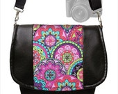Womens SLR Camera Bag Dslr Camera Bag Purse Vegan Black Leather Pink Paisley  purple teal Zipper Padded Deluxe Model MTO