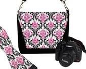 SET Dslr Camera Bag and Dslr Camera Strap, Camera Bag Slr and Camera Neck Strap, Pink Damask  MTO