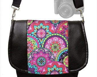 Womens SLR Camera Bag Dslr Camera Bag Purse Vegan Black Leather Pink Paisley  purple teal Zipper Padded Deluxe Model MTO