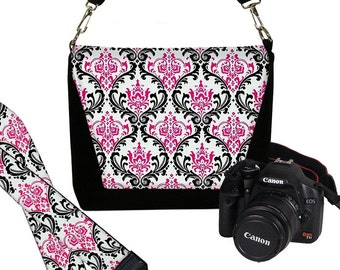 SET Dslr Camera Bag and Dslr Camera Strap, Camera Bag Slr and Camera Neck Strap, Pink Damask  MTO