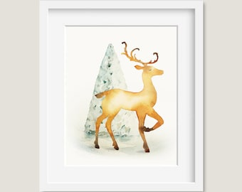 Watercolor Painting - Christmas Reindeer Painting - Watercolor Reindeer - 8 by 10 print - Archival Print, Holiday Decor, Holiday Art