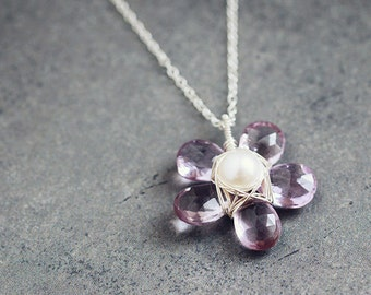Pink AMETHYST white pearl floral sterling silver necklace, wire wrapped flower pendant