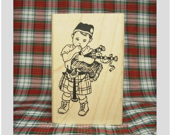 Adorable Wee Laddie Scottish Bagpiper Rubber Stamp Scotland Highlands #347