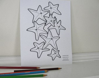 Printable Coloring Page, Seashore Sea Star Starfish Coloring Page for Adults and Children, Downloadable PDF File