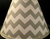 ON SALE Lampshade Lamp Shade made w GREY Gray Chevron Zig Zag fabric, Any Color Trim, 4 Sizes