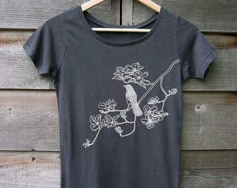 Bird on Dogwood Womens T-shirt - HandPrinted Organic Cotton Tshirt  - Gray Scoop Neck - Eco-Frienly Gift
