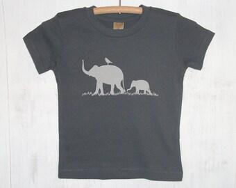 SALE 30% OFF - Baby T Shirt - Organic Cotton T Shirt- Childrens Graphic Tee Shirt- Elephant Shirt- Grey T Shirt- Organic Cotton Clothing