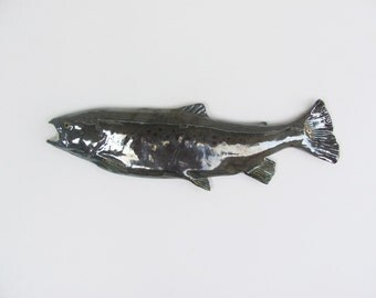 SIlver trout ceramic art fish wall hanging