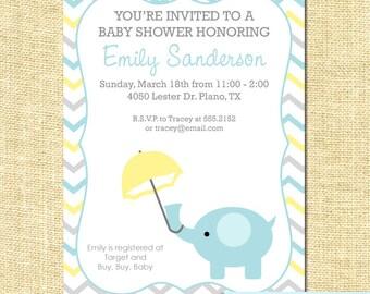 Baby Elephant Shower Invitation Printable Chevron Stripes
