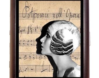 Art Deco Flapper Cigarette Case Profile on Sheet Music Gift for Musicians Follies Dancer 1920's ID Business Card Credit Card Holder Wallet