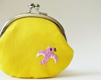 Coin purse pink bird on yellow linen embroidery spring pastel change purse kiss lock purse small clasp purse lemon yellow