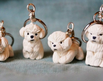 Miniature Bichon Frise Polymer Clay Stitch Markers (set of 4 accessories)