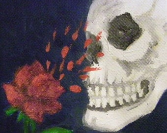Stop and Smell the Roses Skull Small Miniature Art Oil Painting