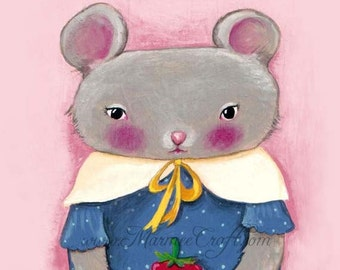"MarmeeCraft mouse art print, ""Raspberry Season"""