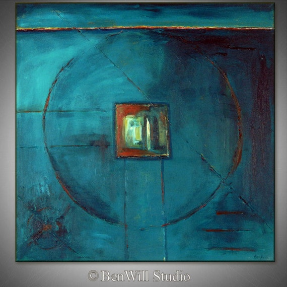 Abstract Geometric Painting Turquoise ORIGINAL Modern Oil Painting FIGURE Art, Ready to Hang 30x30 by BenWill