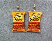 Cheetos Flamin Hot Kitsch Dangle Polymer Clay Junk Food Earrings Hypo Allergenic Nickle-Free