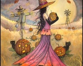 October Fields Fantasy Art Original Witch Cat Halloween Archival Giclee Print 9 x 12